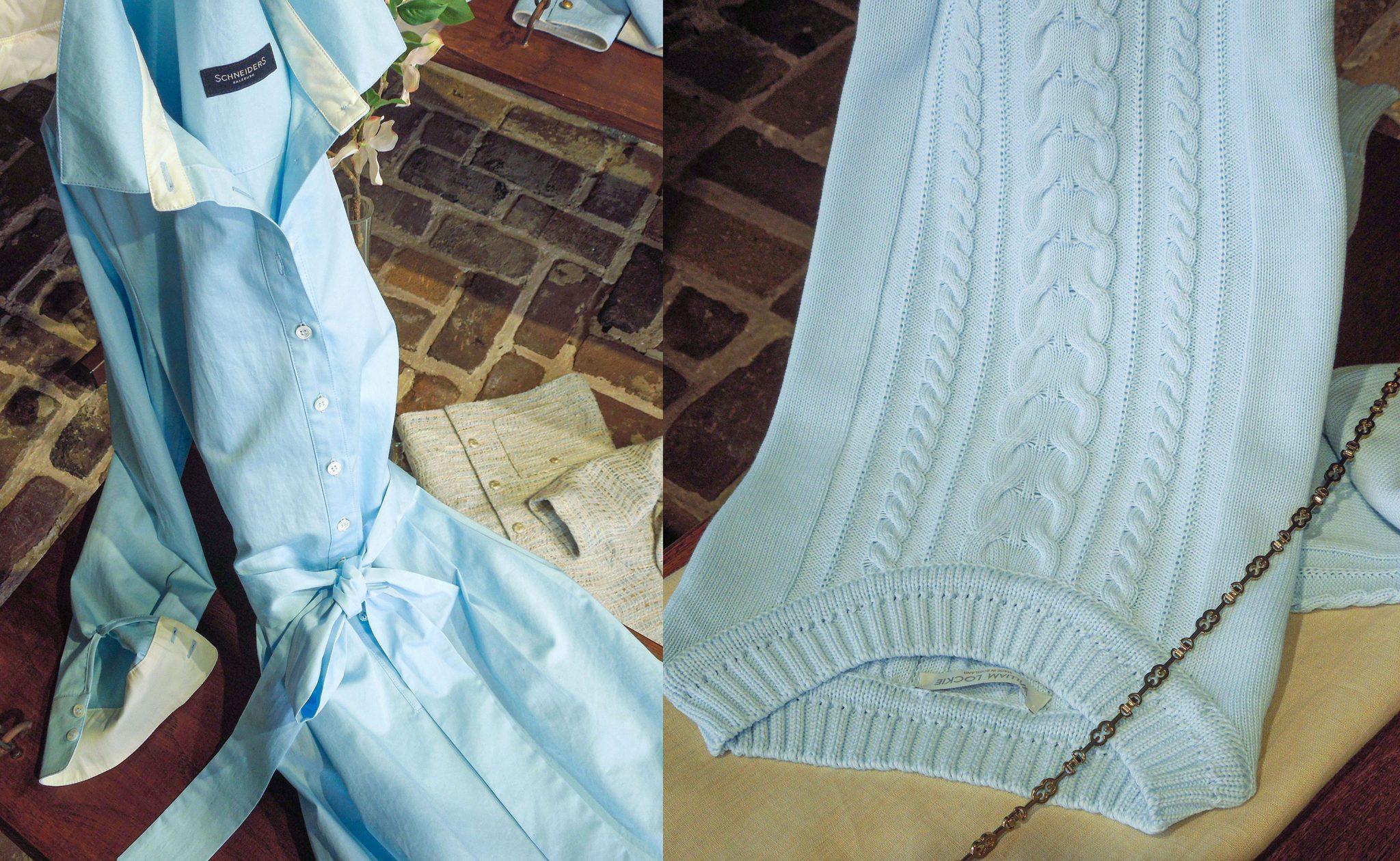 Lichtblauwe jurk – trui – juni 2020