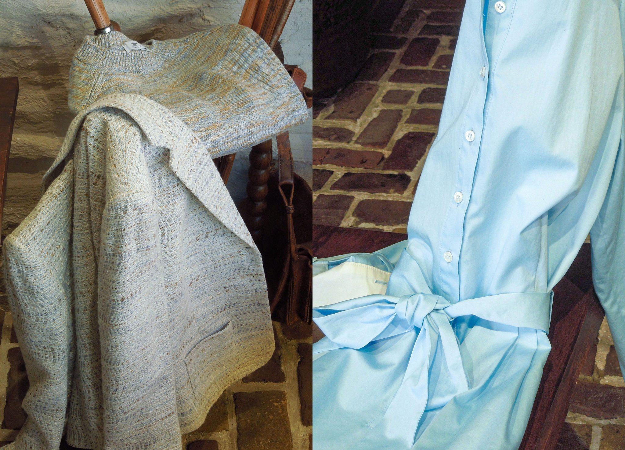 Lichtblauwe jurk – beige colbert – juni 2020