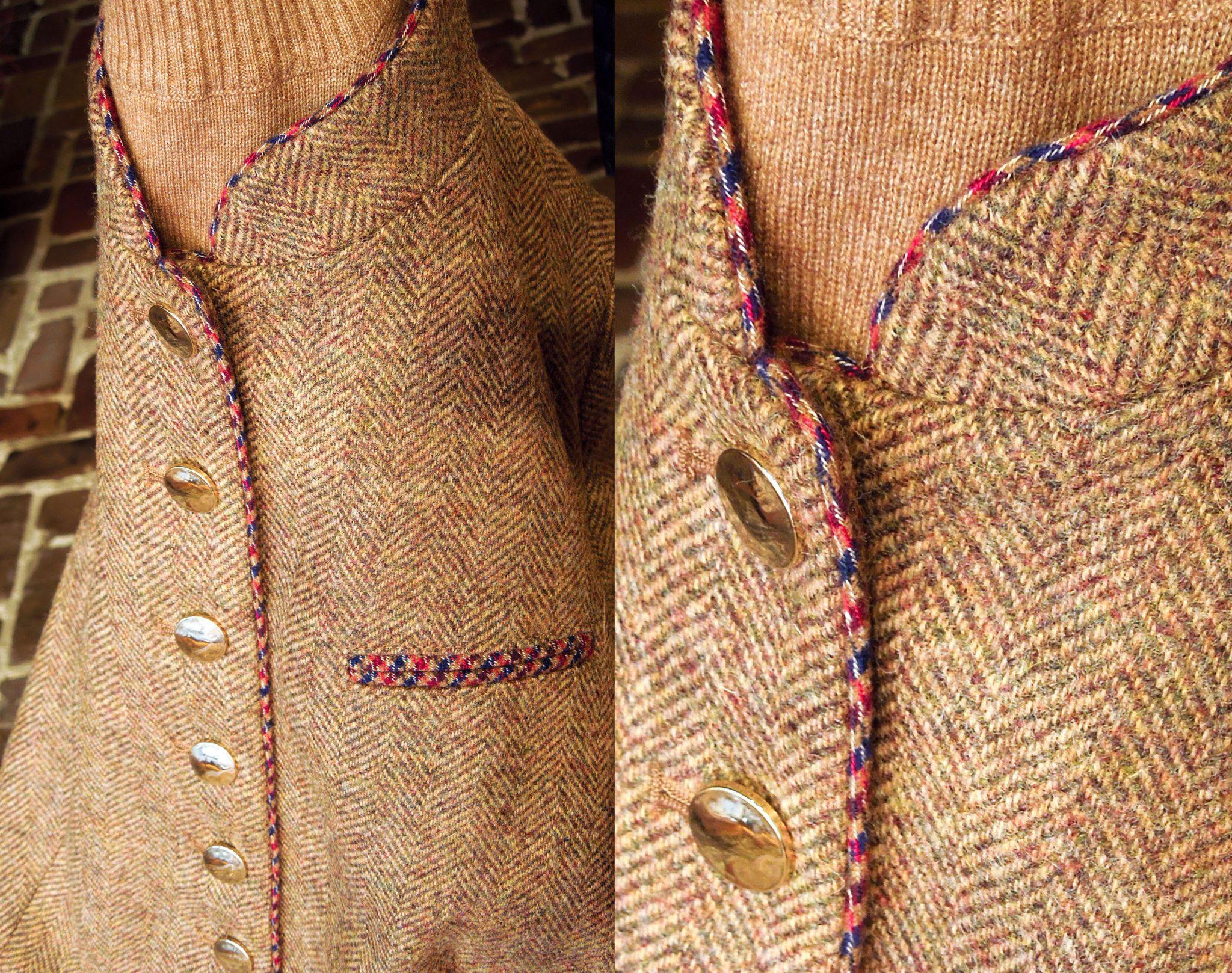 8 – Visgraat bruine jasje met rode bies